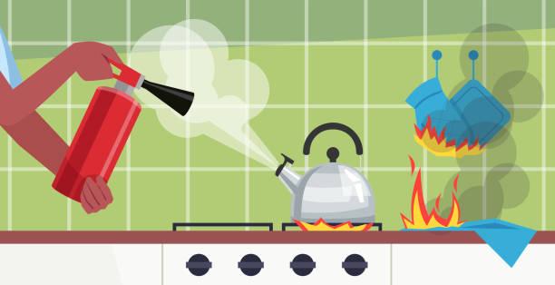 ilustrações de stock, clip art, desenhos animados e ícones de putting out fire in kitchen table semi flat vector illustration - fail cooking