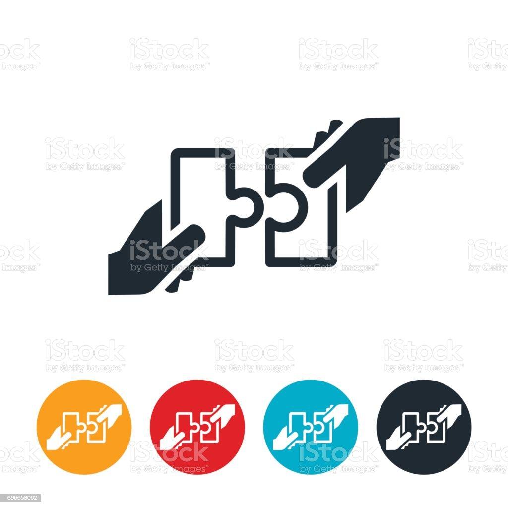 Puzzle zusammen Symbol setzen – Vektorgrafik