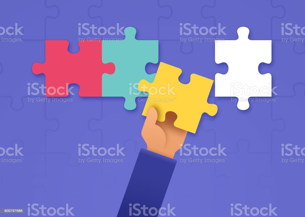 Putting Together a Puzzle vector art illustration