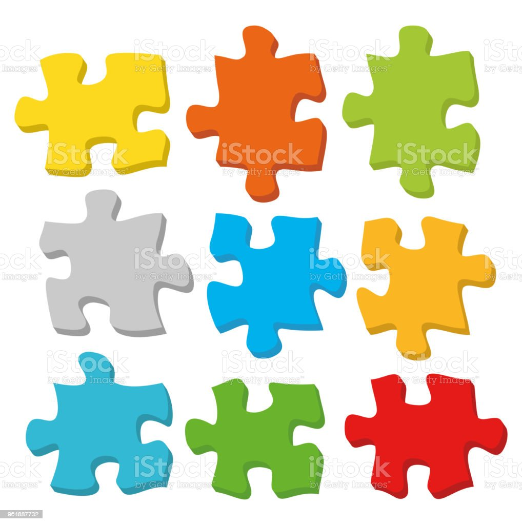 Puzzle 3D. Vector royalty-free puzzle 3d vector stock vector art & more images of analyzing