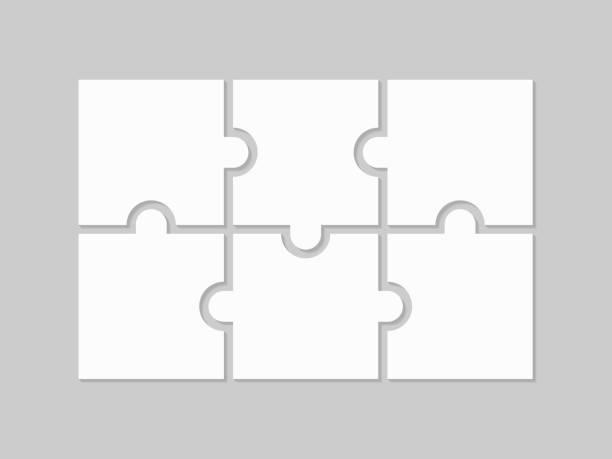 bildbanksillustrationer, clip art samt tecknat material och ikoner med pussel 6 delar - puzzle