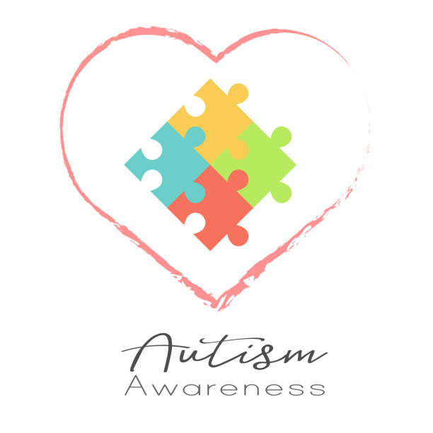 Puzzle and heart, World Autism Awareness day vector art illustration
