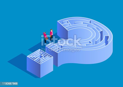 Puzzle and maze, two businessmen standing in front of the maze door of the question mark