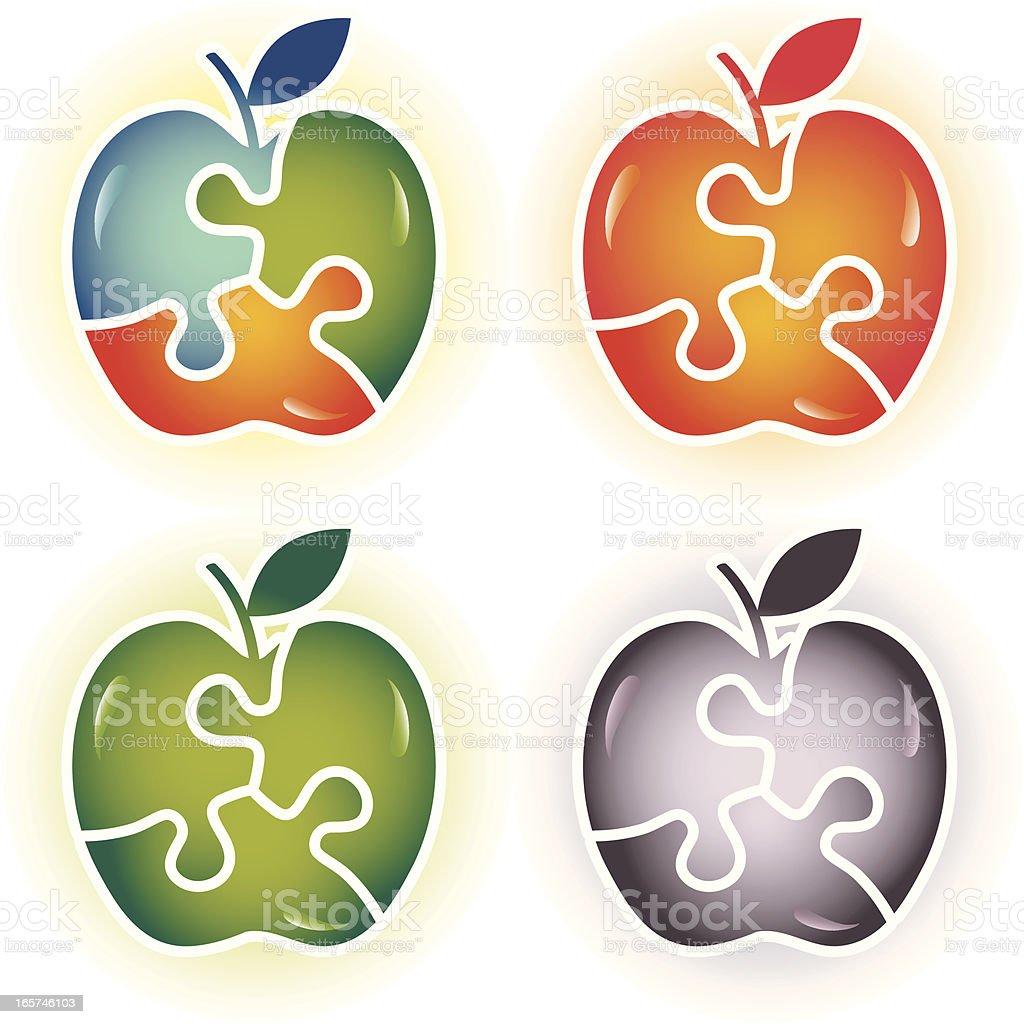 Puzzle Apple Solution vector art illustration