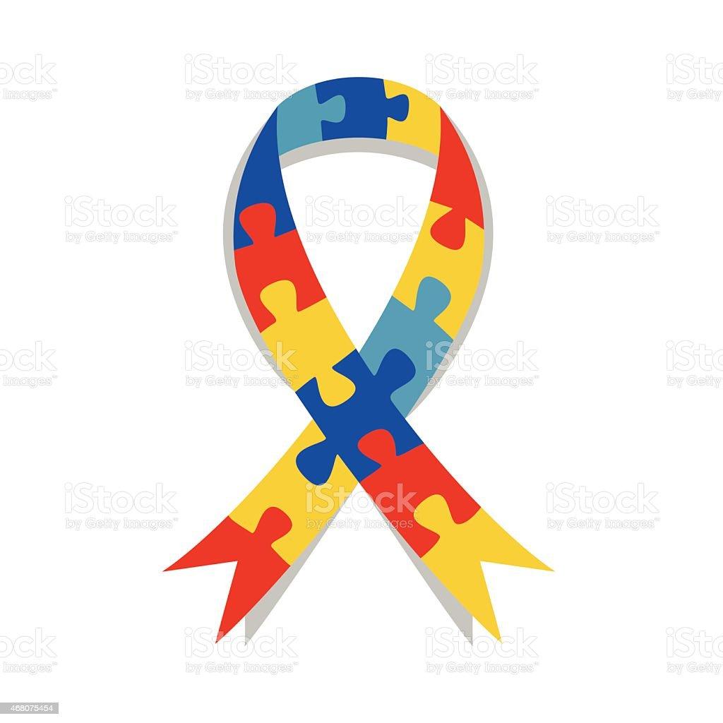 Quebra-cabeça da Consciencialização do Autismo fita - ilustração de arte em vetor