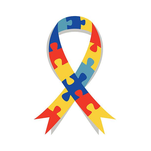 ilustraciones, imágenes clip art, dibujos animados e iconos de stock de puzzle de concienciación sobre el autismo cinta - símbolo societal