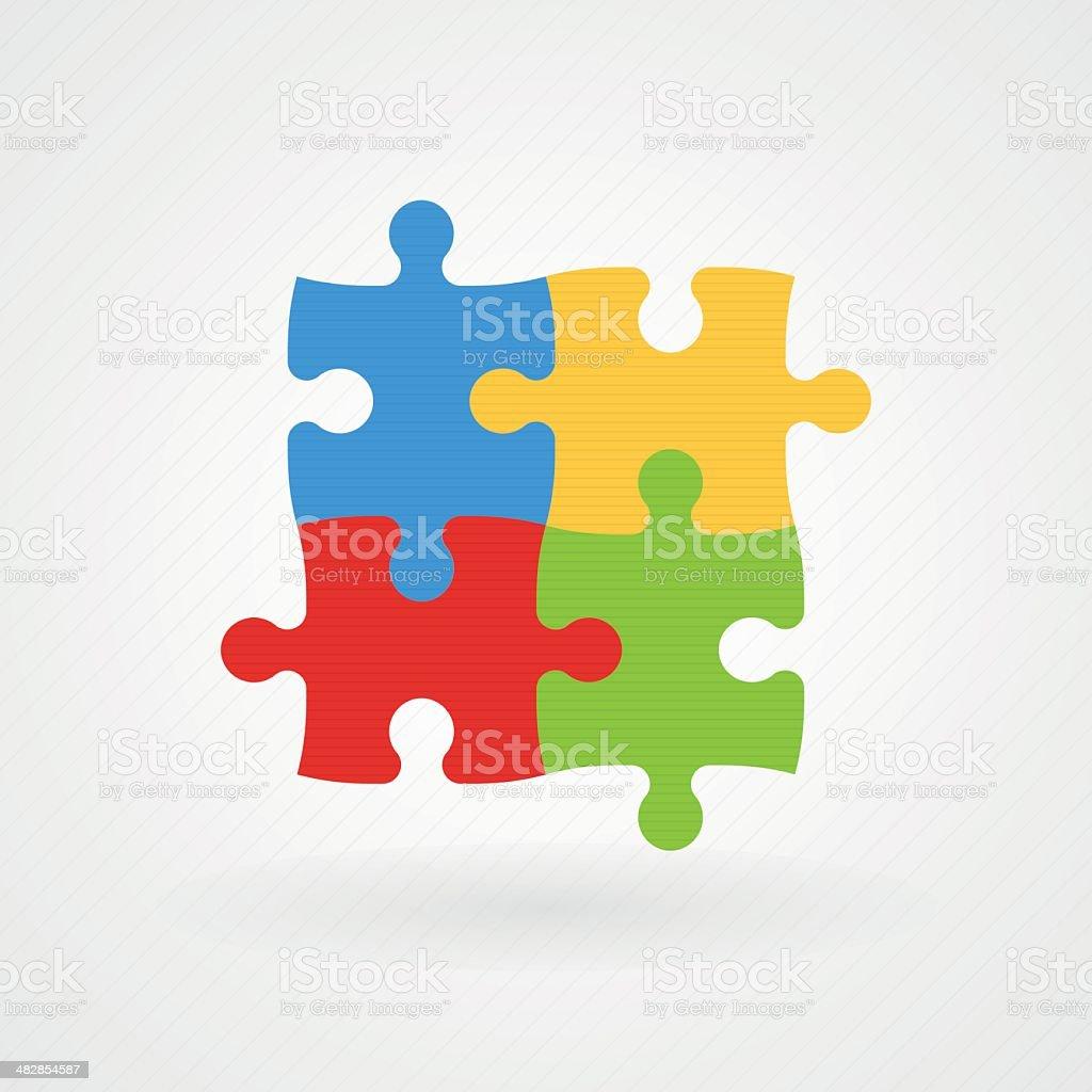 Quebra-cabeça: Da Consciencialização do Autismo - ilustração de arte em vetor