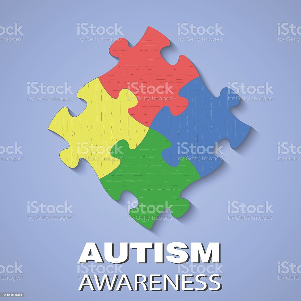 Puzzle autism awareness vector art illustration