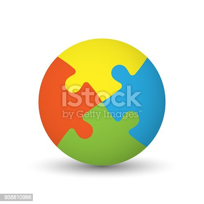 istock 3D puzzle ball of four pieces in four colors 938810986