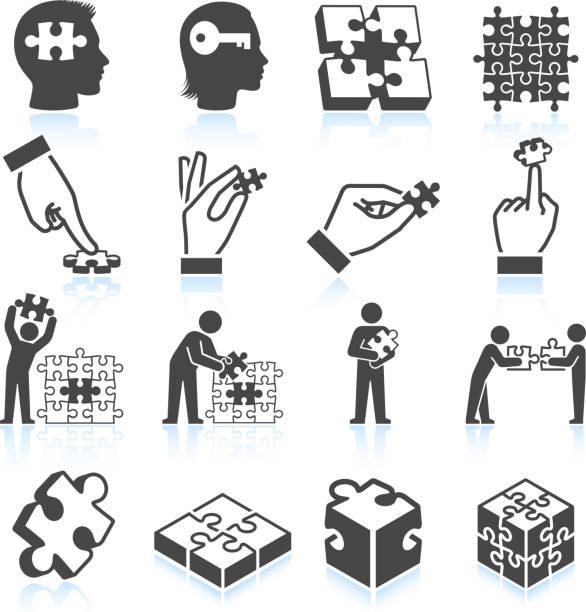 ilustrações de stock, clip art, desenhos animados e ícones de quebra-cabeça preto & branco vector conjunto de ícones royalty free - inteiro