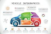 Land Vehicle Infographics in Mosaic Style.