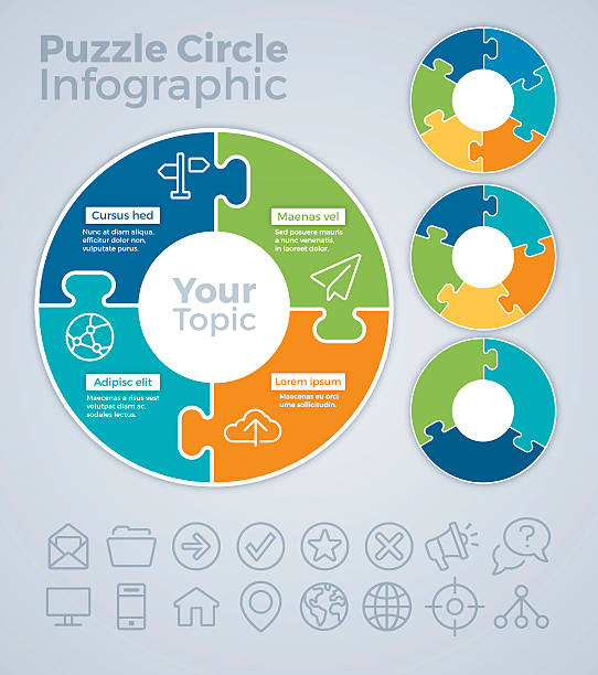 puzzle circle infographic concept - puzzle stock-grafiken, -clipart, -cartoons und -symbole