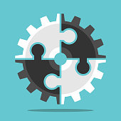 Cog wheel assembled of white and black puzzle pieces on turquoise blue background. Teamwork, cooperation and partnership concept. Flat design. EPS 8 vector illustration, no transparency, no gradients