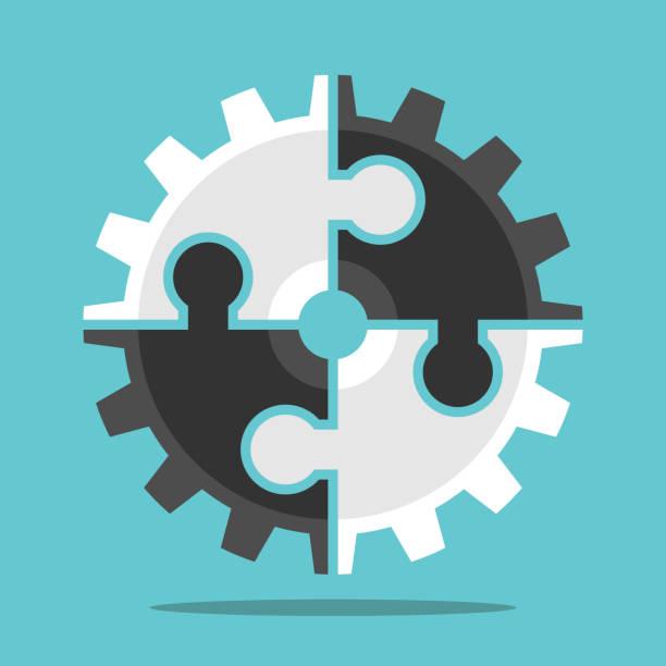 Puzzle-Cog, Teamwork Konzept – Vektorgrafik