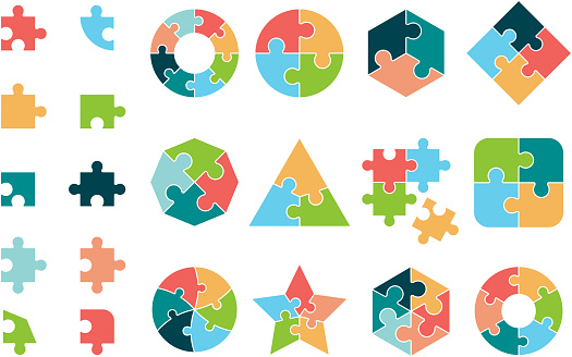 Puzzle collection. Business different jigsaw round and square geometrical forms tags puzzle pieces vectors