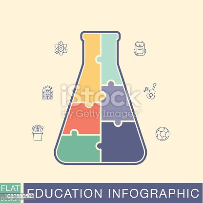 Puzzle Flask school and education infographic base with room for text and thin line icons.