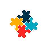 istock Puzzle flat, mosaic icon, vector illustration isolated on white background 1259692168