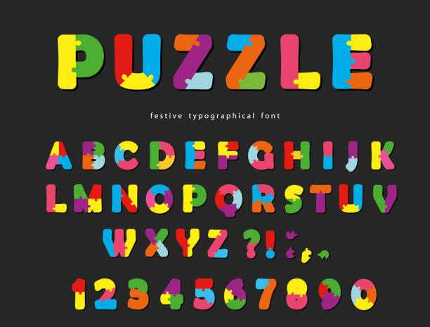 puzzle-schriftart. abc bunte kreative buchstaben und zahlen auf einem schwarzen hintergrund. - kinderspielzeug stock-grafiken, -clipart, -cartoons und -symbole