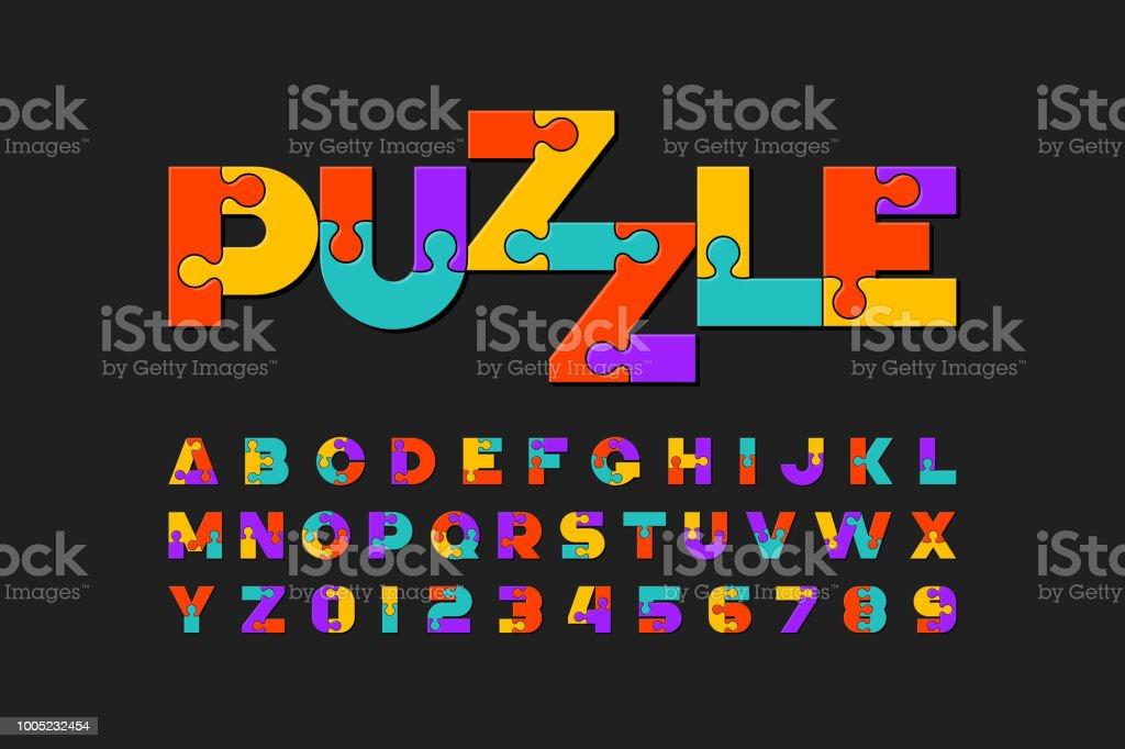 Puzzle font vector art illustration