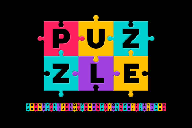 puzzle-schrift - puzzle stock-grafiken, -clipart, -cartoons und -symbole