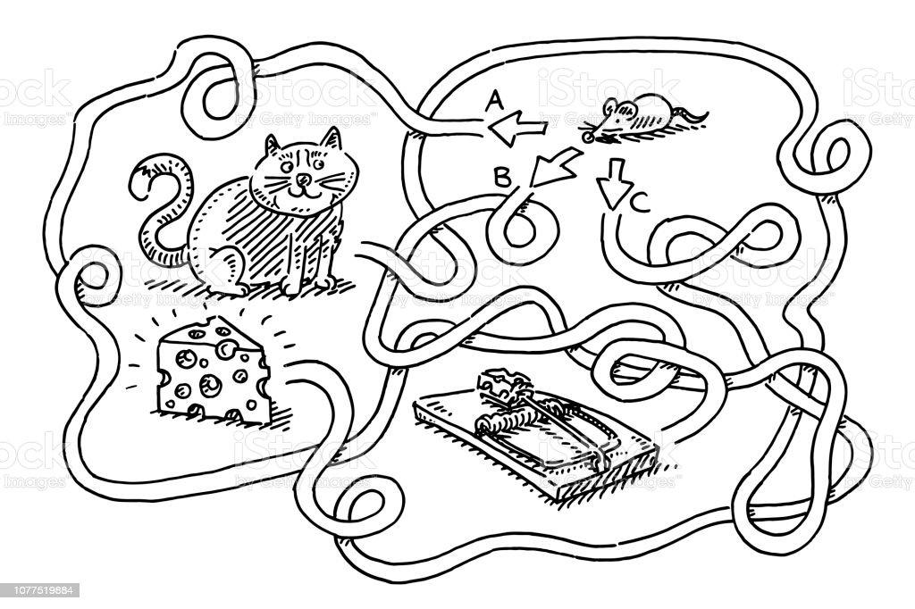 Ilustración De Rompecabezas Para Niños Ratón Encontrar Queso Dibujo