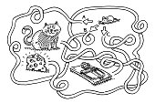 Puzzle For Children Mouse Find Cheese Drawing