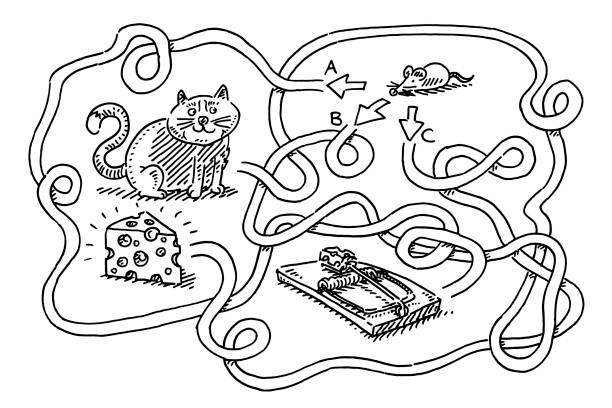 Puzzle For Children Mouse Find Cheese Drawing Hand-drawn vector drawing of a Puzzle For Children, Mouse needs to Find the Cheese, be careful of the cat and the mouse trap. Black-and-White sketch on a transparent background (.eps-file). Included files are EPS (v10) and Hi-Res JPG. game stock illustrations