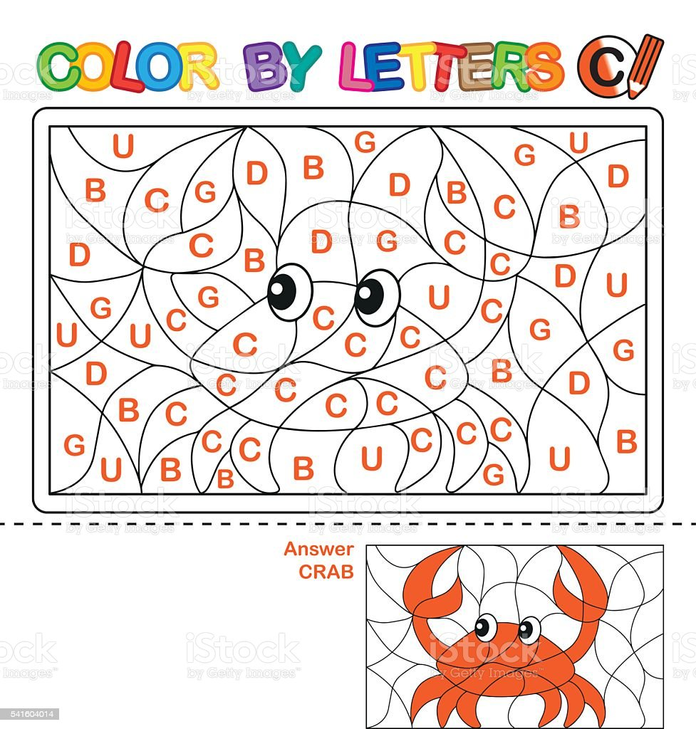 puzzle for kids color by letters stock vector art more images of 2