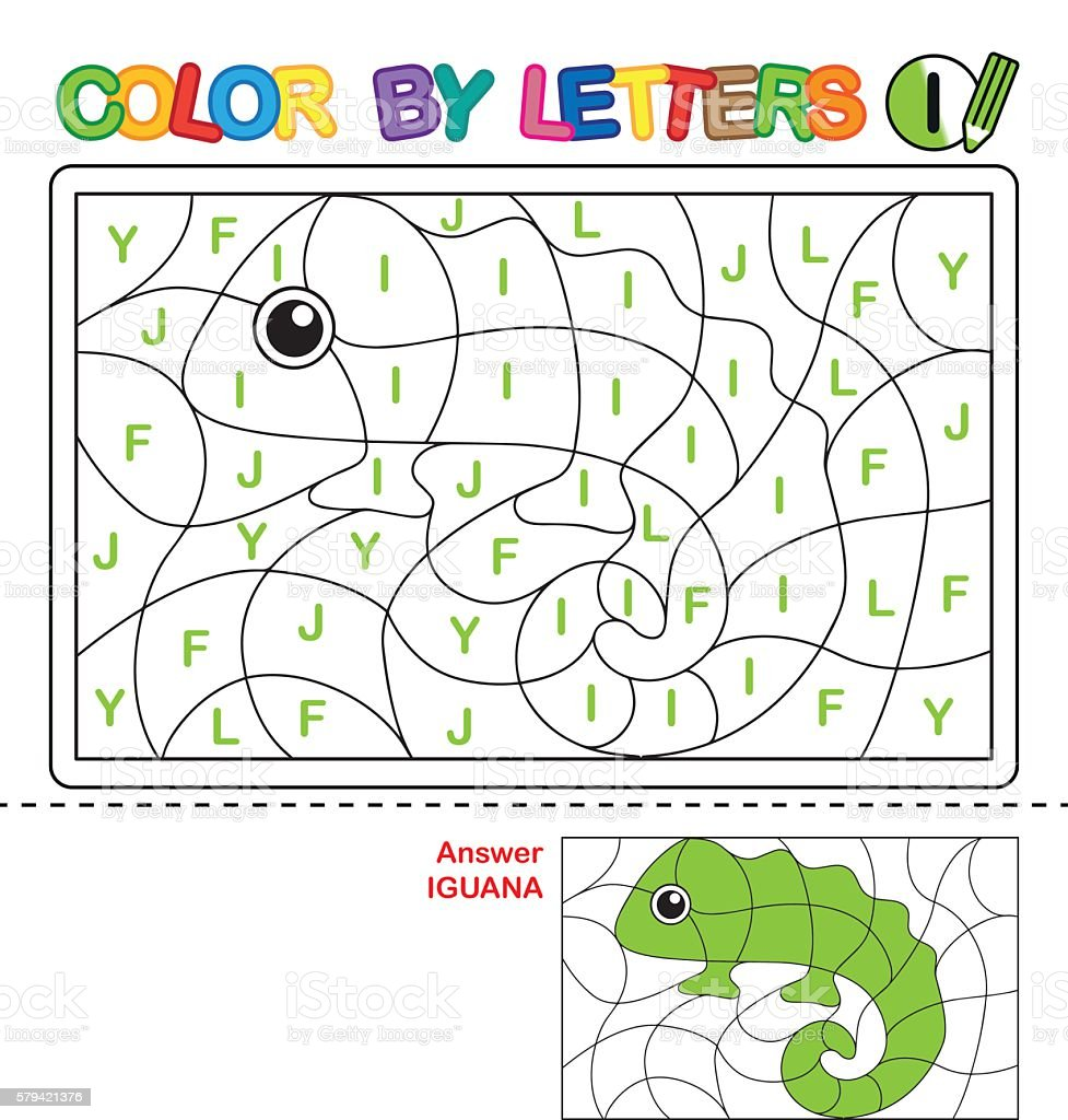 puzzle for kids color by letters stock vector art 579421376 istock