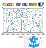 Vector coloring book for children. We study capital letters of the English alphabet. Letter F. Flower