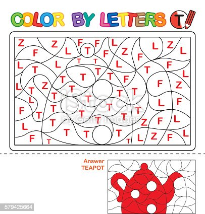 istock Puzzle for kids. Color by letters. 579425664