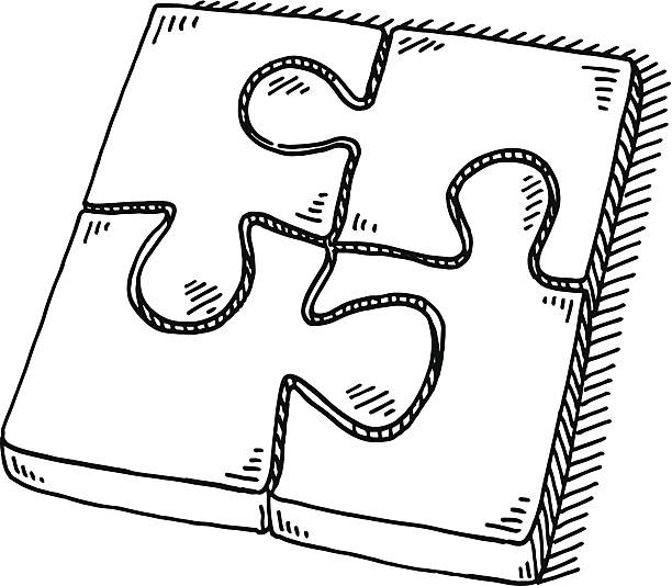Puzzle Four Jigsaw Pieces Drawing Hand-drawn vector drawing of a rectangular Puzzle with Four Jigsaw Pieces. Black-and-White sketch on a transparent background (.eps-file). Included files are EPS (v10) and Hi-Res JPG. game stock illustrations