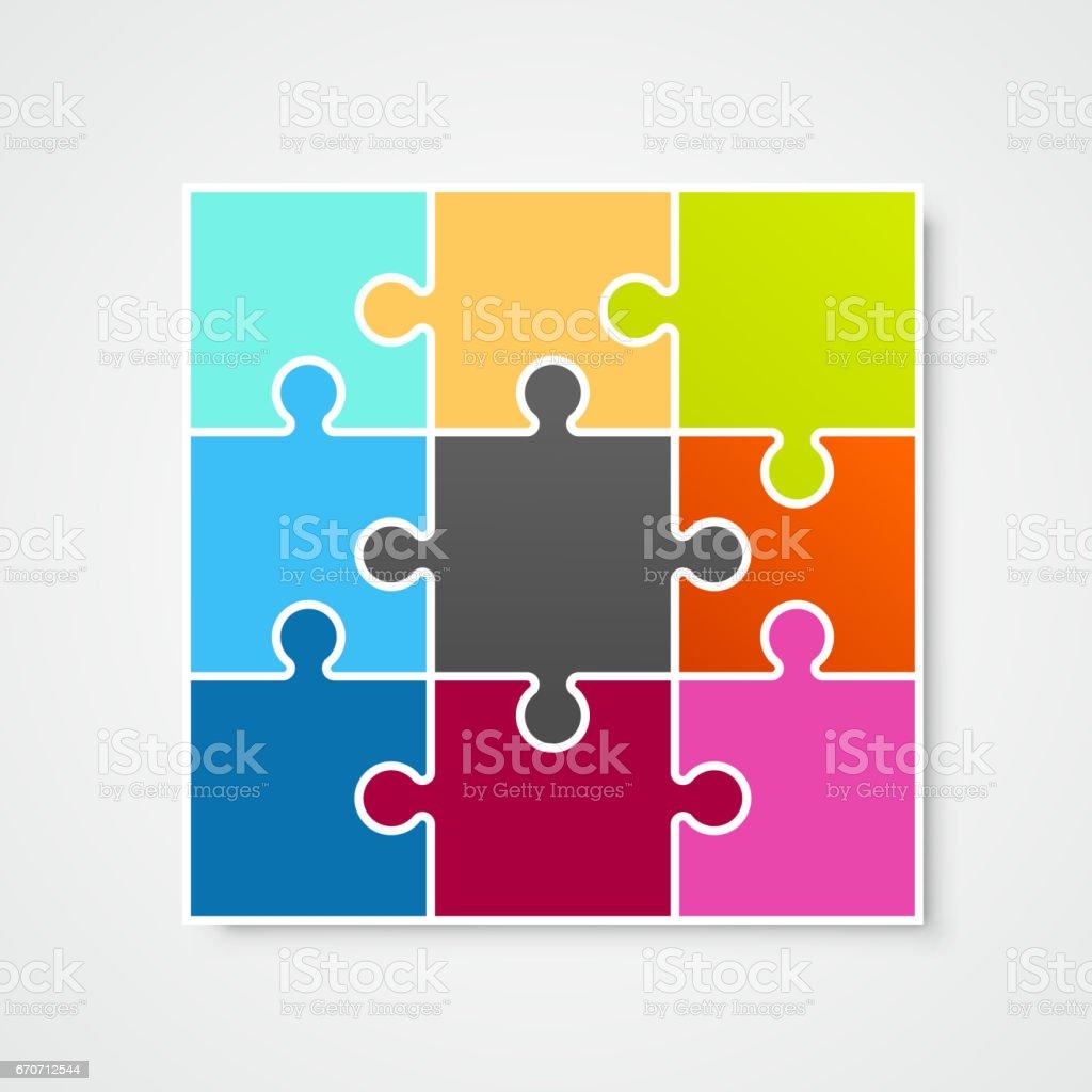 Puzzle Rahmen Vorlage Gestaltungselement Vektorillustration Stock ...