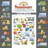 Big transport constructor to make various types of vehicles,cars,trucks,wagons.Choose right parts of car to make your own.Game design concept.