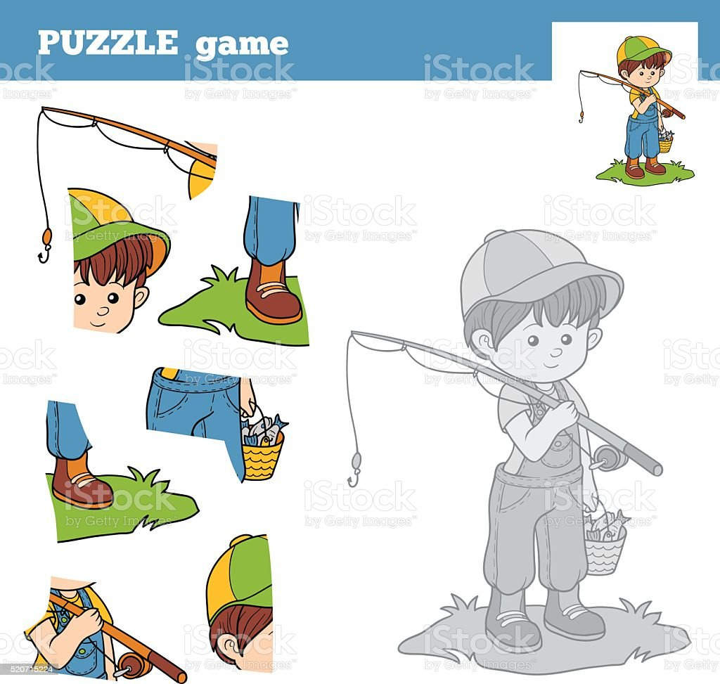 Puzzle Game for children with the boy fisher vector art illustration