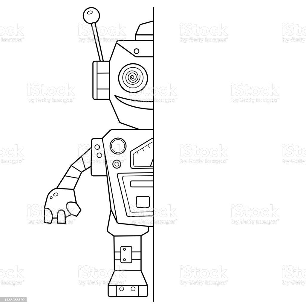 Jeu De Puzzle Pour Les Enfants Dessiner Symetriquement Et Peindre Coloriage Page Outline De Robot De Dessin Anime Livre A Colorier Pour Enfants Vecteurs Libres De Droits Et Plus D Images Vectorielles De