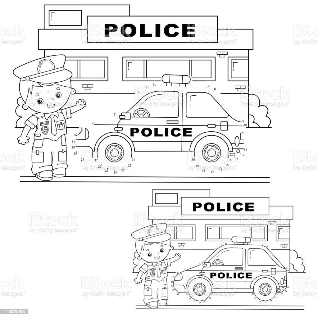 Permainan Tekateki Untuk Anakanak Permainan Angka Mobil Polisi Mewarnai Garis Besar Halaman Kartun Polisi Dengan Mobil Buku Mewarnai Untuk Anakanak Ilustrasi Stok Unduh Gambar Sekarang Istock