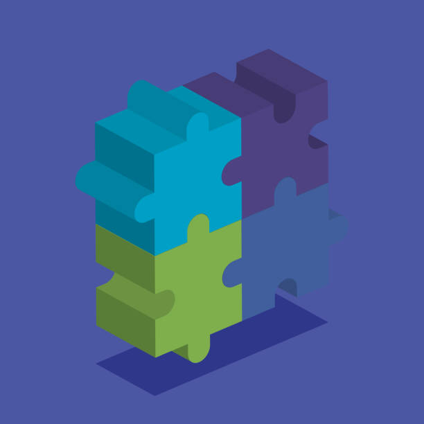 illustrations, cliparts, dessins animés et icônes de travail d'équipe de pièces d'un jeu de puzzle - infographie processus