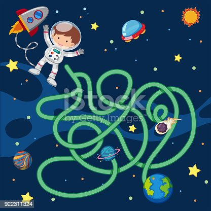 Puzzle Game Template With Astronaut Flying In Space Stock Vector Art ...