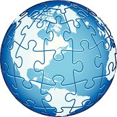 Jigsaw Puzzle Globe with America continents. Main elements are on separate layers. Easy to  change or remove. Additional Zip file contains: .AI(8), PDF and High res JPEG.