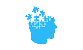 Puzzle head isolated on a white background. Brain mosaic. Mosaic, details, pieces, tails. Jigsaw background for presentation template. Simple modern design. Blue color. Flat style vector illustration.