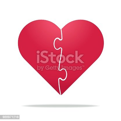 Puzzle Heart Divided In Two Parts Relationship Divorce Stock Vector ...