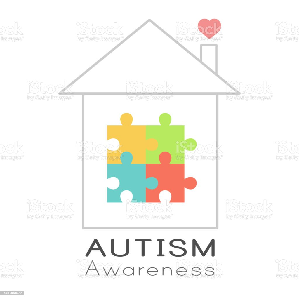 Puzzle house and heart, World Autism Awareness day vector art illustration