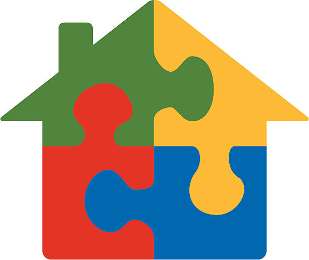 Royalty Free House Puzzle Pieces Green Red Clip Art ...