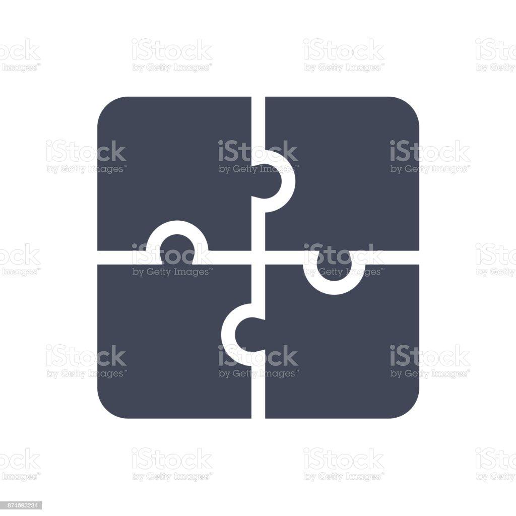 Bulmaca simgesi. Düz vektör çizim. Bulmaca oyun işareti simgesi vektör sanat illüstrasyonu