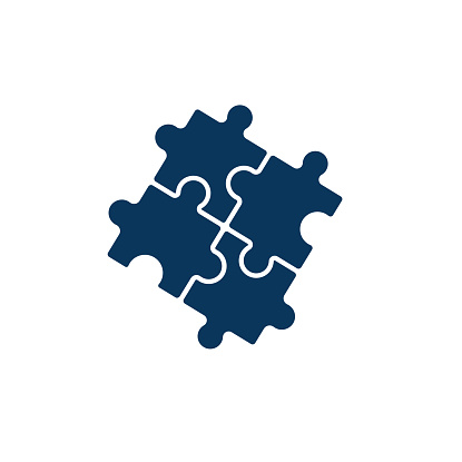 Puzzle icon vector, filled flat sign, solid pictogram isolated on white. Plugins symbol, logo illustration.Puzzle pieces vector. Finance money management target. blue color