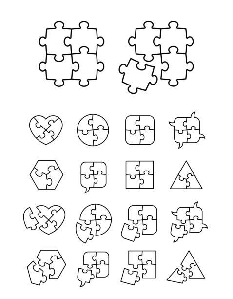 ilustrações de stock, clip art, desenhos animados e ícones de puzzle icons set - complete and incomplete - inteiro