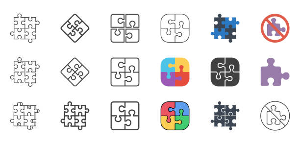 puzzle icons set. - puzzle stock-grafiken, -clipart, -cartoons und -symbole