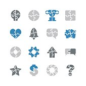 Puzzle icons,vector illustration.