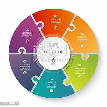 istock Puzzle infographic circle with 6 steps, options, pieces. Six-part cycle chart. 1274798848
